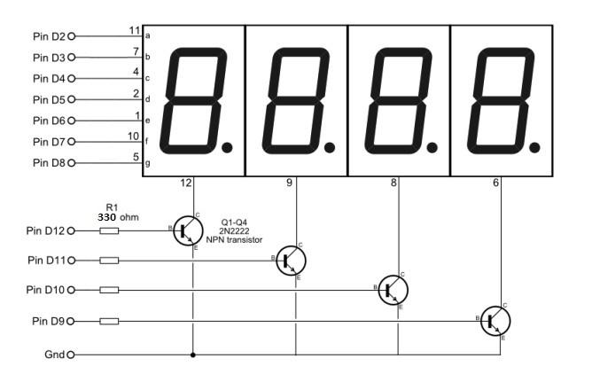 displays de 4 digitos y 7 segmentos
