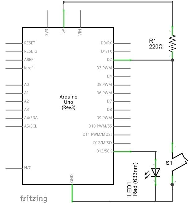 Circuito con Arduino y tilt switch