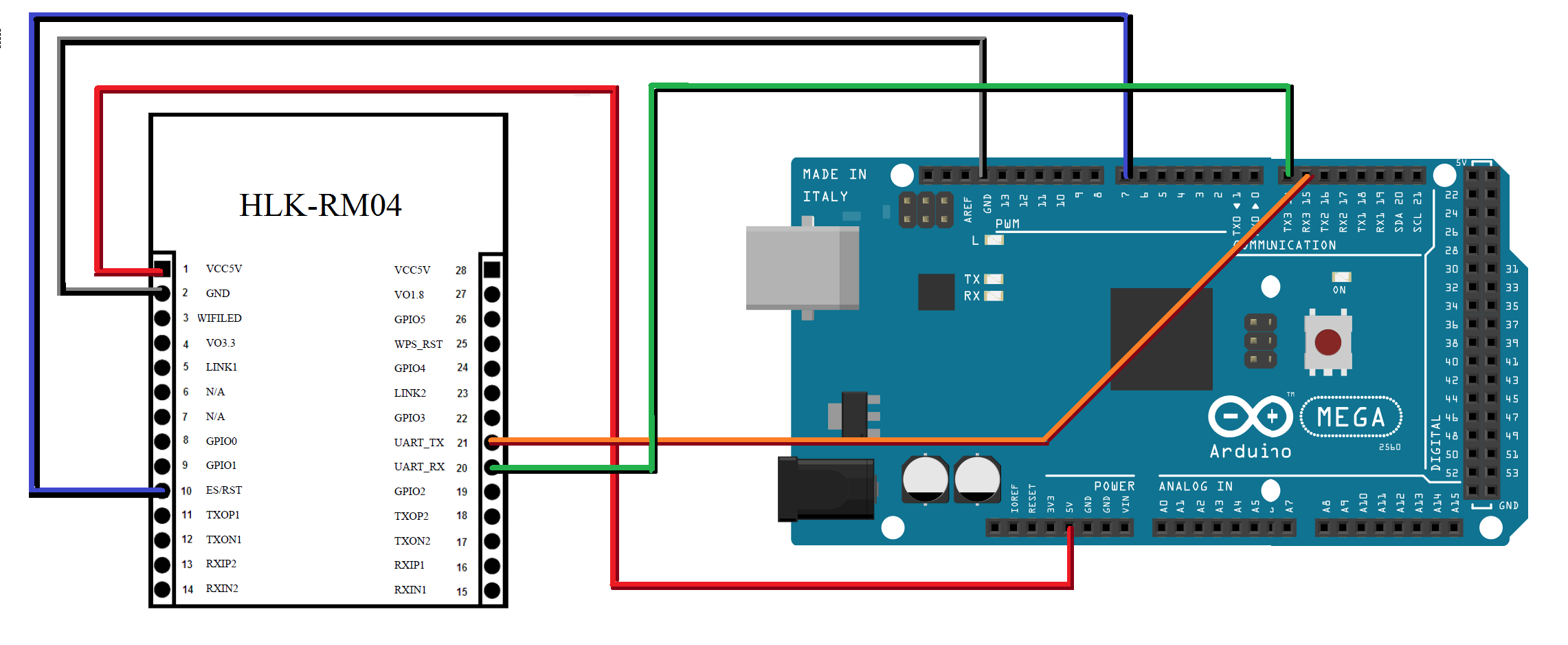 ESquema de conexion en protoboard