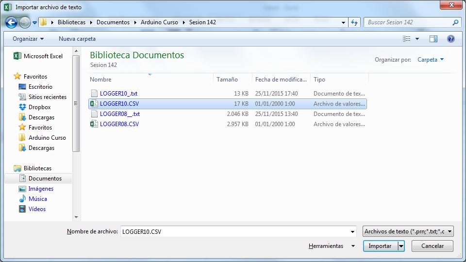 Seleccionando fichero CSV