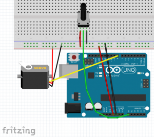 protoboard servo potenciómetro