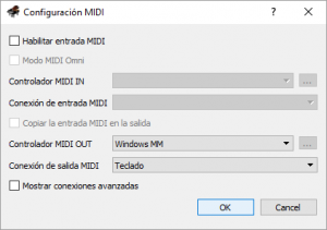seleccionar salida puerto midi virtual