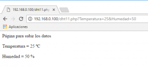 página para datos servidor raspberry