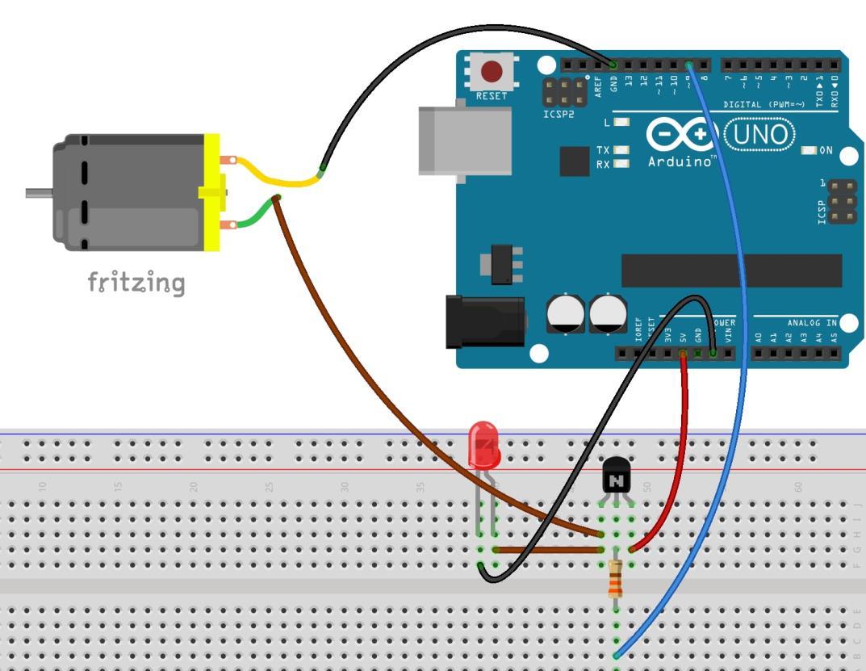Protoboard transistor motor