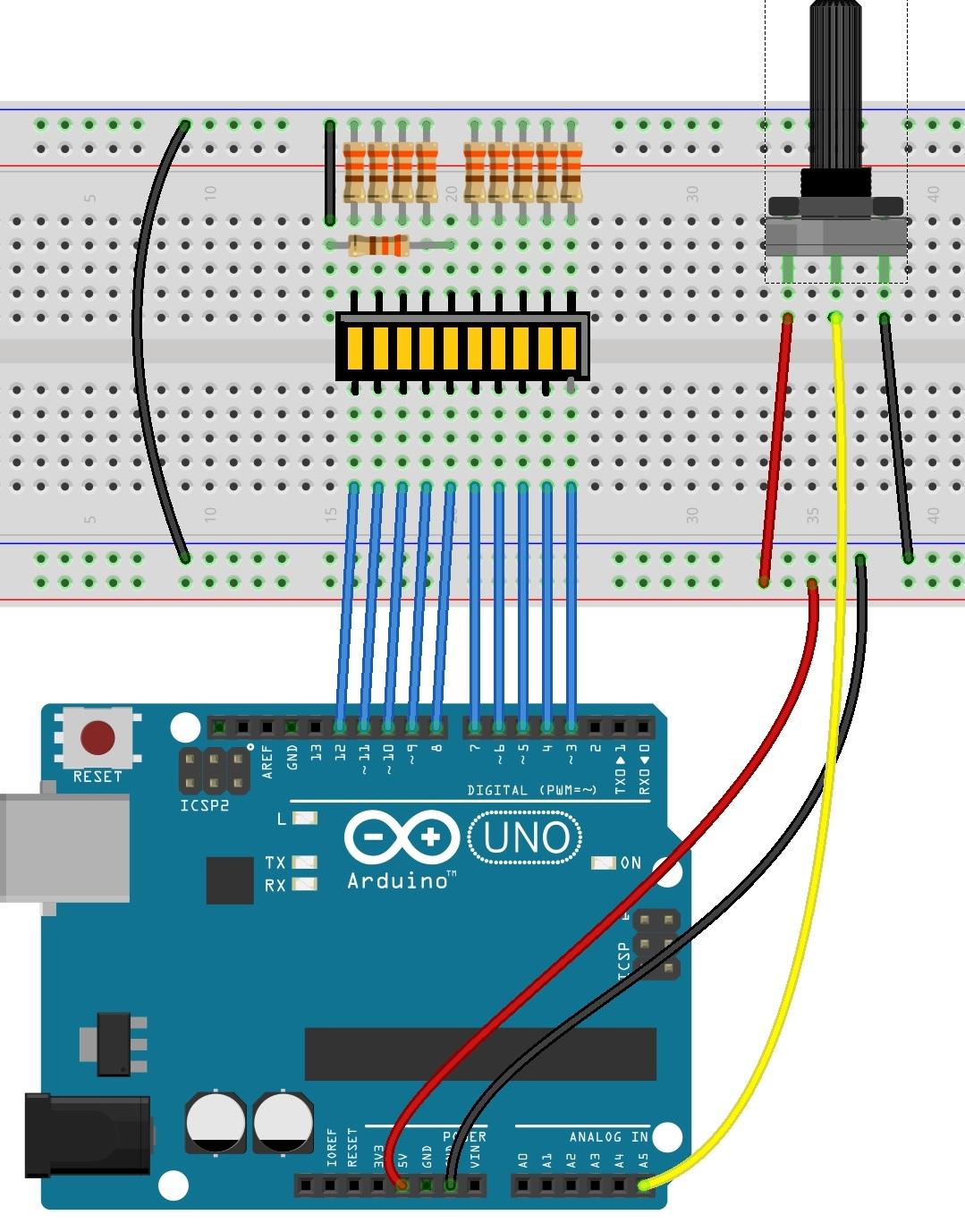 Circuito Arduino : Circuito con un bar led tienda y tutoriales arduino