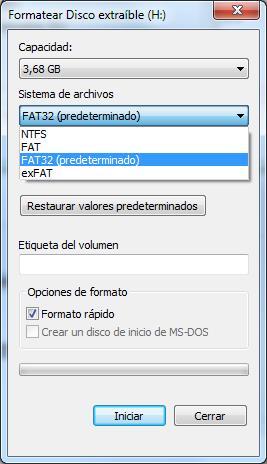 Opciones de formateo para SD