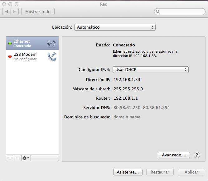 Parametros TCPIP