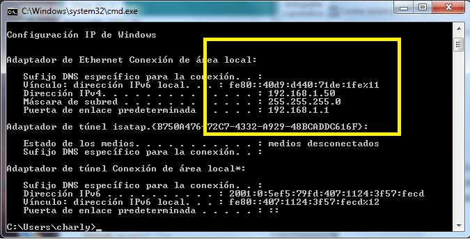 Consola windows con IPconfig