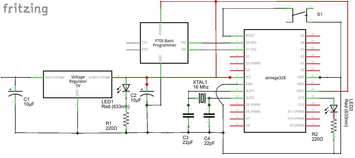 Arduino en protoboard