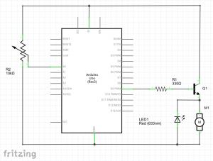 conexión motor transistor potenciómetro