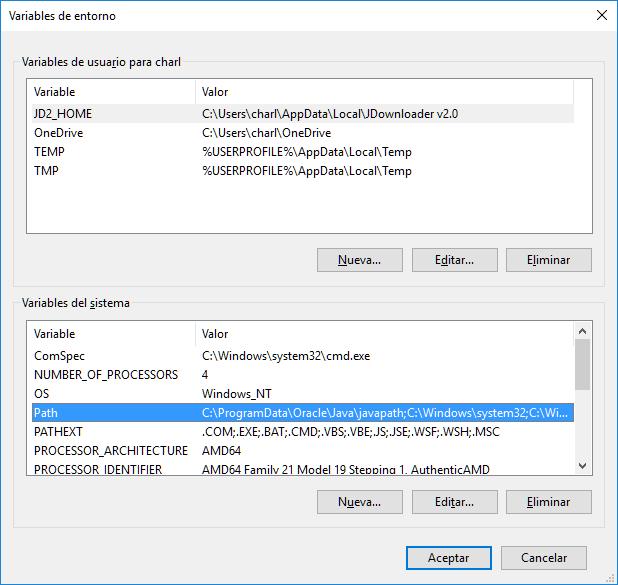 Editar variable de entrono path