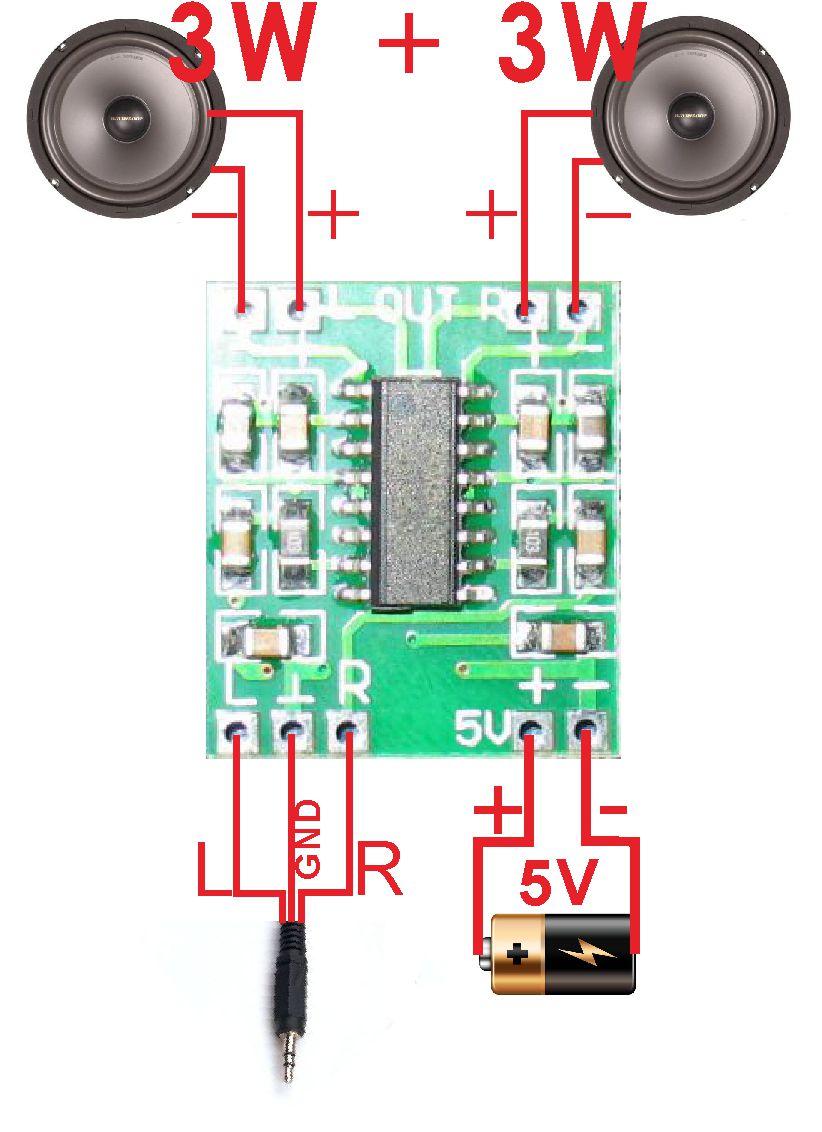 amplificador audio 3w