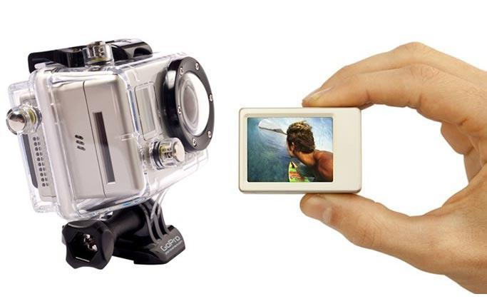 LCD screen on an action camera