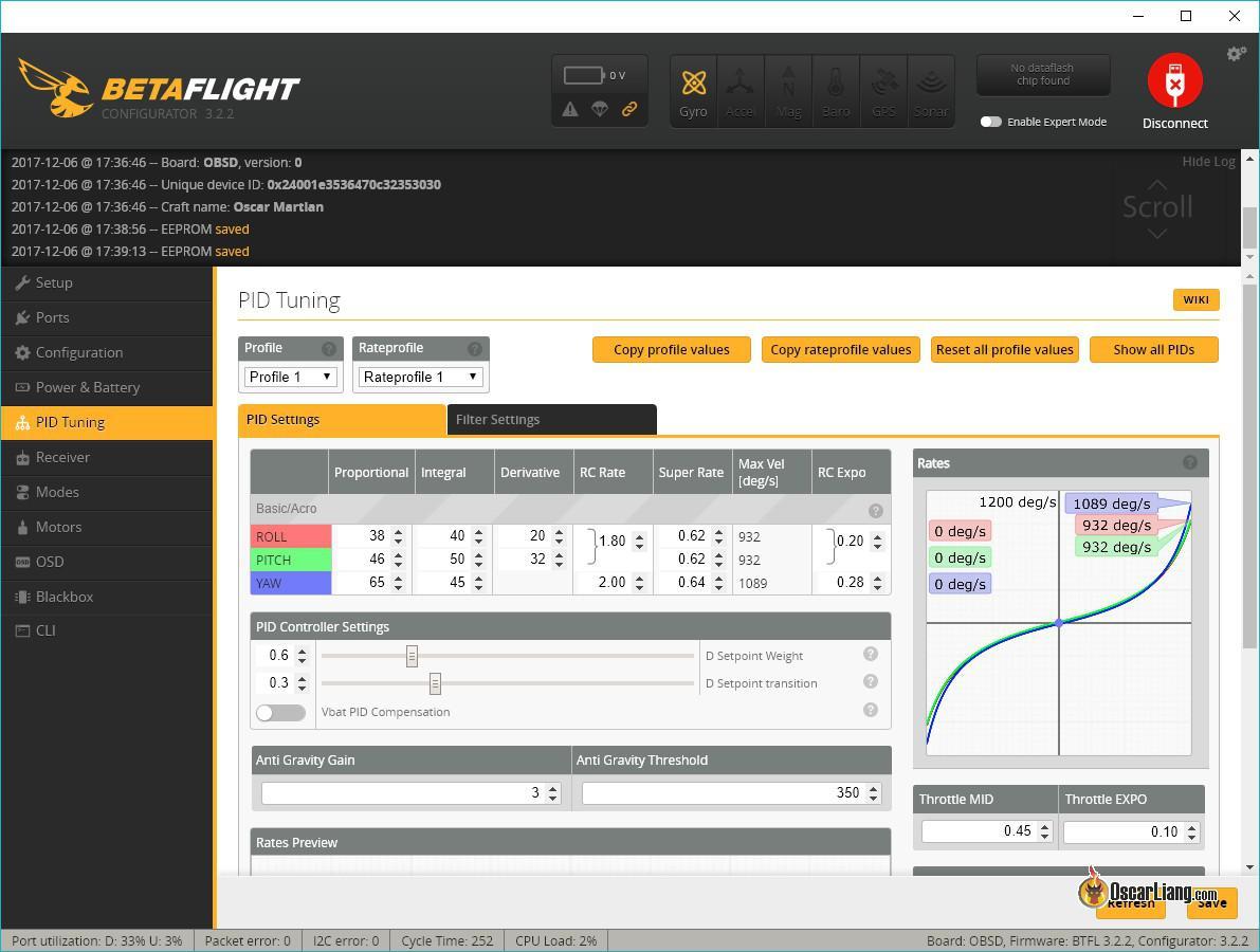 Configuración PIDs en Betaflight