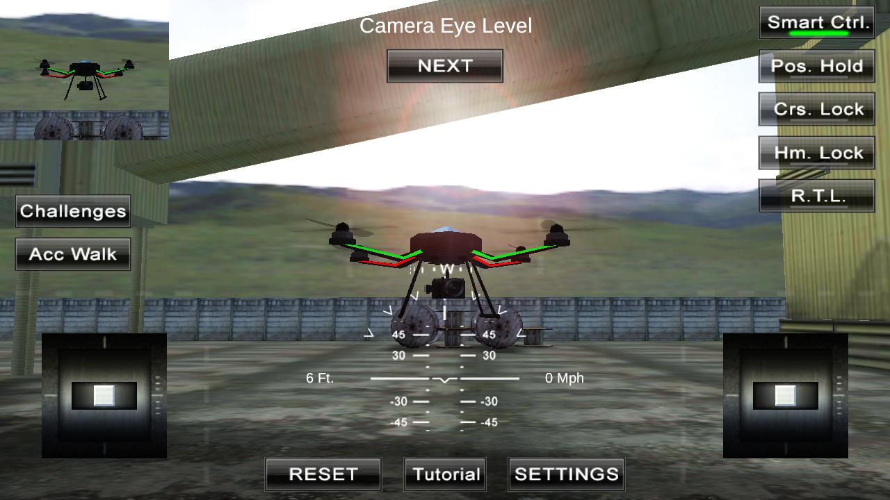 Un cuadracóptero virtual en una pantalla