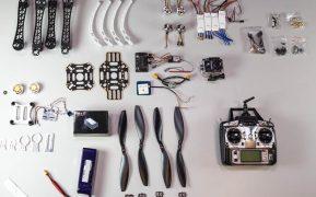 Diferentes componentes de un quadcoptero