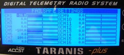 pantalla taranis failsafe