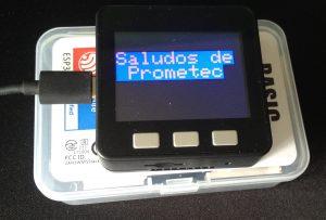 Muestra de texto en pantalla