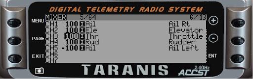 Pantalla Mixer de FrSky Taranis